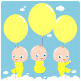 Babies with balloons Royalty Free Stock Photo