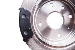 New back brake disks and pads Stock Photo