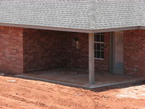 New Back Porch. Back porch and entrance of newly built brick house Royalty Free Stock Photos