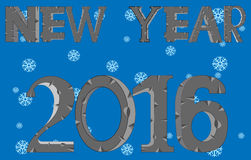 New 2016 on background snowflake. Decorative numerals 2016 on background of the snow vector illustration
