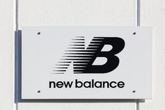 New Balance logo on a wall Stock Images
