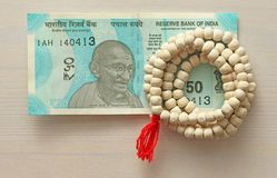 A new banknote of India with a denomination of 50 rupees. Indian stock photo