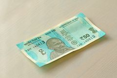 A new banknote of India with a denomination of 50 rupees. Indian stock photography