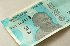 A new banknote of India with a denomination of 50 rupees. Indian stock image