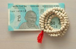 A new banknote of India with a denomination of 50 rupees. Indian royalty free stock image