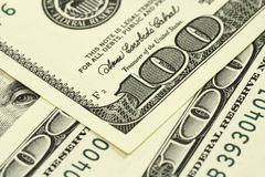 New banknotes of one hundred dollars  Background Royalty Free Stock Photos