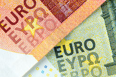 New banknotes of ten and five euros Stock Images