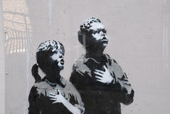 New Banksy - detail. Guerilla artist new painting appeared on Wednesday 5th March during the night Stock Images