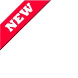 New banner or label. Red new banner of label in corner, isolated on white background Royalty Free Stock Photos