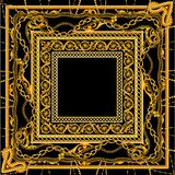 New Baroque golden chain in black white color scarf design stock illustration