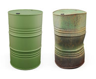 New barrel for oil and an old rusty barrel next. 3d. New barrel for oil and an old rusty barrel next isolated on white background. 3d illustration Stock Photos