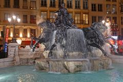 The new Bartholdi fountain in Place des Terreaux. LYON, FRANCE, March 22, 2018 : Inauguration of the renovated Bartholdi fountain on Place des Terreaux after two Royalty Free Stock Images