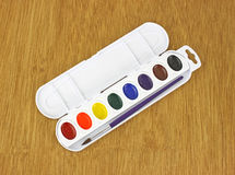 New basic watercolor paint set Royalty Free Stock Photography