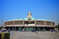 The new Basilica of Our Lady of Guadalupe, Mexico. MEXICO CITY, MEXICO - MARCH 30, 2012: The modern basilica was built between 1974 and 1976 by the Mexican Stock Photo