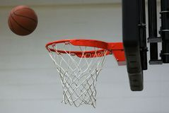 New basketball hoop at kids sports center. During game stock image