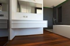 New bathroom, parquet floor Royalty Free Stock Photo