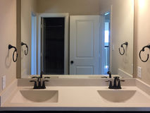 Free New Bathroom With Two Sinks And Mirror On The Wall Royalty Free Stock Photography - 96332337