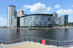 New BBC studios at Salford Quays. New British Broadcasting Corporation (BBC) Studios and offices at Salford Quays, Greater Manchester Royalty Free Stock Photos