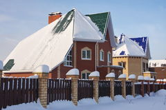 New beautiful cottage in the winter. With snow Stock Image
