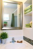 New beautiful white sink with green towels Royalty Free Stock Image
