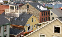 New Bedford, MA: 18-19th Century Buildings. A mélange of typical New England wooden, stone, and brick 18-19th century houses in the historic seaport city of New Royalty Free Stock Photography