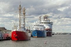 Three ships in late afternoon sun Royalty Free Stock Images