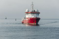 Geotechnical survey vessel Fugro Discovery  in New Bedford outer harbor
