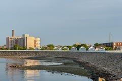 New-Bedford Nachbarschaft geschützt durch Hurrikansperre Stockfotos