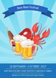 New Beer Festival 2017 on Vector Illustration. New beer festival, come with your friends, program of festival includes degustation and funny concerts, promo Royalty Free Stock Photography
