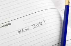 New beginning. Diary entry for that new job start date stock photos