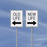 New Beginnings. Conceptual one way signs on change or choices Royalty Free Stock Images