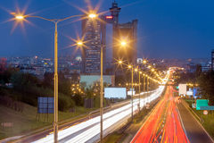 New Belgrade and city highway with light trails at night Royalty Free Stock Images
