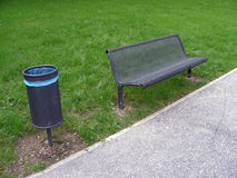 New bench. New metallic bench and bin in the public park Stock Photography