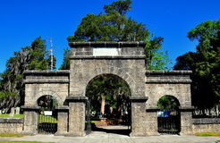 New Bern, NC: Weeping Gate at Cedar Grove Cemetery. New Bern, North Carolina:  Weeping Arch Gate at historic Cedar Grove Cemetery on Queen Street Royalty Free Stock Image