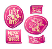 New, best, exclusive spring offer stickers set, spring savings Royalty Free Stock Photos
