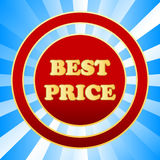 New best price icon. On a blue background Stock Photos