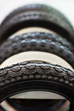 New bicycle and ATV tires with different tread Stock Photography