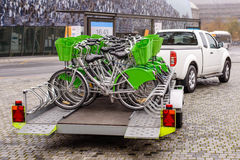 New bicycles being transported on a trailer Stock Photo