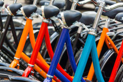 New bicycles for sale. Or rent in the store Royalty Free Stock Photos