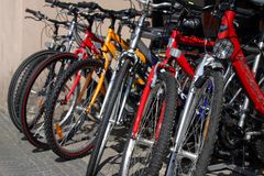 New bicycles on the street market. Colorful new bicycles on the street market Stock Photography