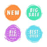 New Big Sale Best Offer Deal Text on Painted Spots Royalty Free Stock Photos