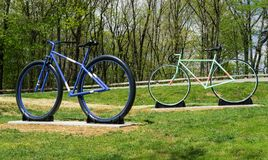 New Bike Sculptures on Mill Mountain. Roanoke, Virginia USA, April 20th: New Bike Statues located at the entrance to Mill Mountain Park spur on Mill Mountain stock photography