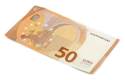 A new bill of fifty euros royalty free stock photography