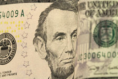 A new bill in five American dollars  background Stock Photography