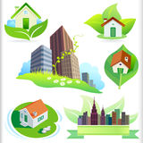 New Bio Green House and City ICONs Royalty Free Stock Images