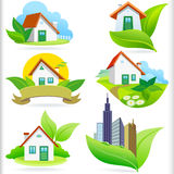 New - Bio Green Houses ICONS Royalty Free Stock Image