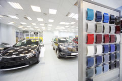 New black cars stand in car shop Stock Image