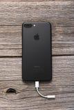 New black iPhone 7 Plus. Stock Photos