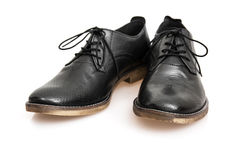 New black leather shoes Stock Image