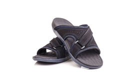 New black men's sandals isolated on white Royalty Free Stock Photos